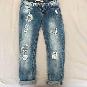 Zara distressed jeans / distressed denim